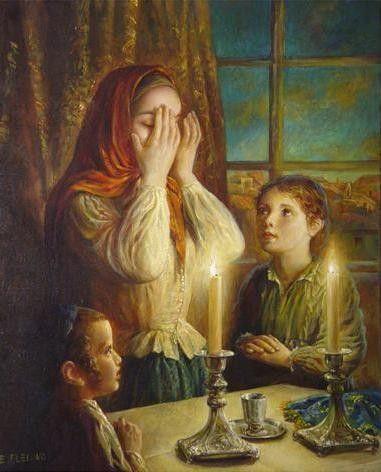 Elena Flerova -Welcoming the Shabbat IV- Jewish Art Oil Painting