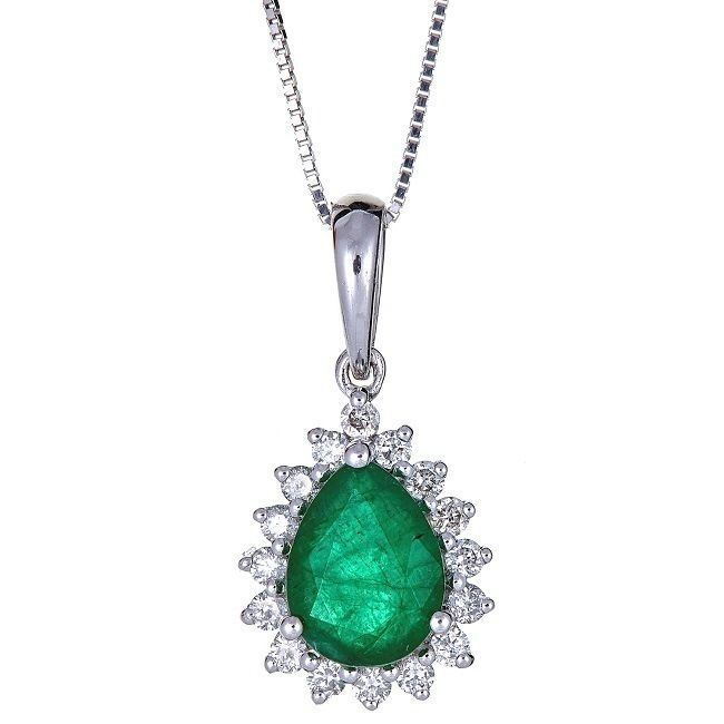 Anika and August 18k White Gold Pear-cut Zambian Emerald and Diamond Pendant (EM), Green, Size 18 Inch