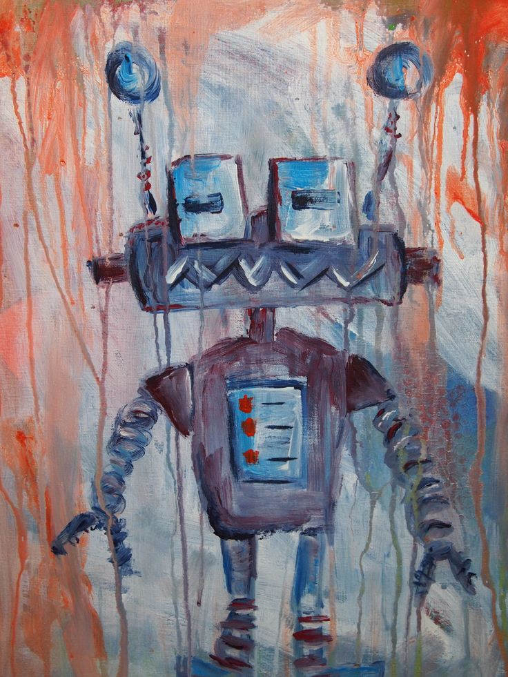 Robot painting with help from my 2 year old son!