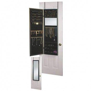 Mirrotek Over the Door Jewelry Armoire Mirror Cabinet in Black - JA1448BK
