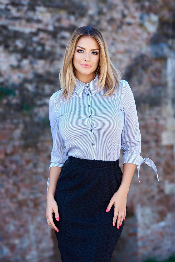 PrettyGirl Casual Note Black Shirt, slightly elastic fabric, vertical stripes…