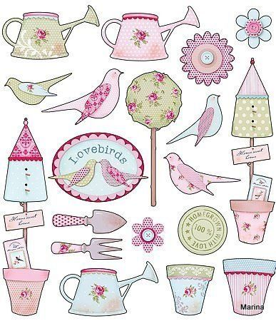 Free freebie printable birds, bird houses, watering cans etc.