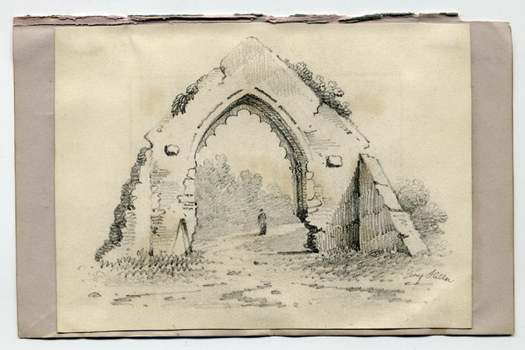 "This is a pencil sketch artwork of a ruined Archway.  It is signed on the lower right side ""Adolf Hitler""."