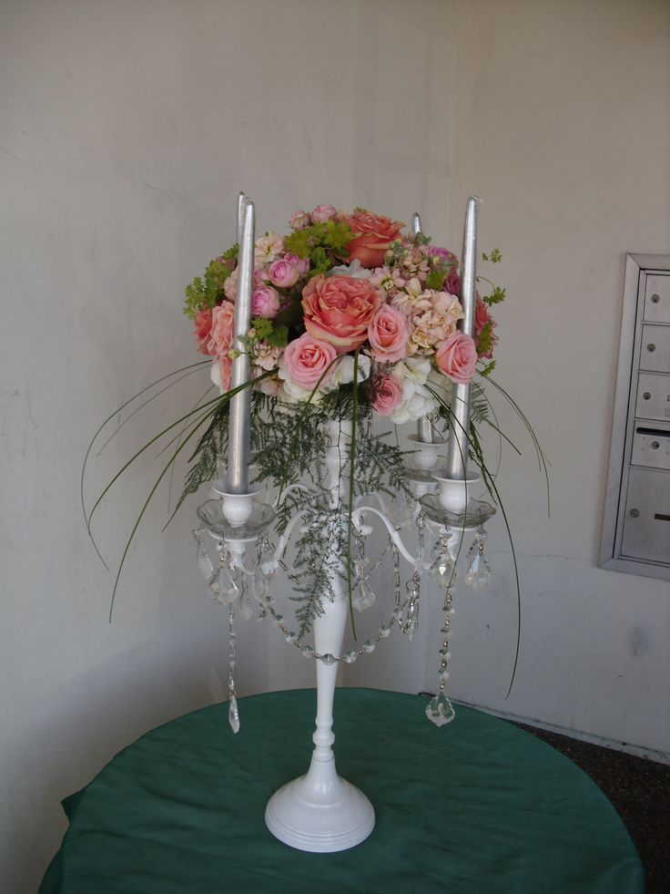Pink White Peach Flowers Centerpiece For Wedding And