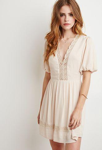 Puff-Sleeved Crochet-Trimmed Dress | Forever 21 | #thelatest