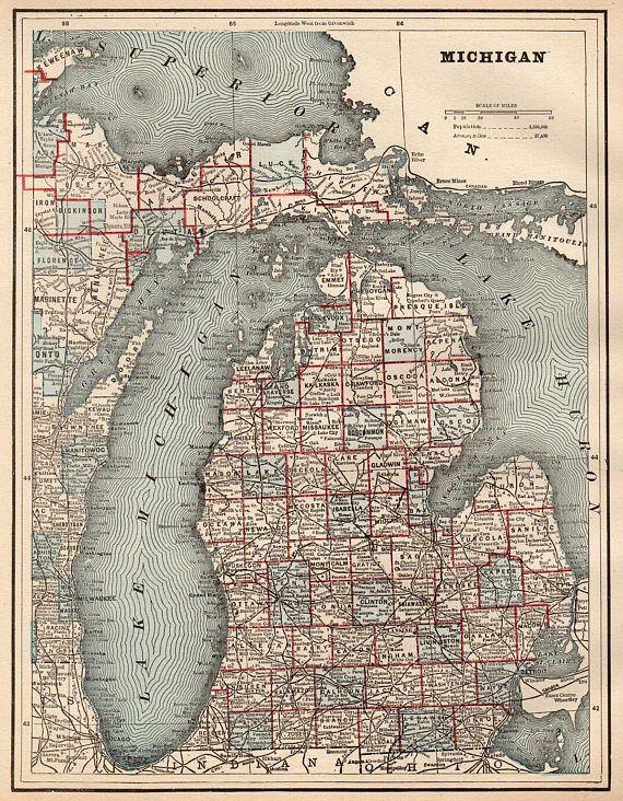 1892 Antique MICHIGAN Map Vintage Map of Michigan State Map