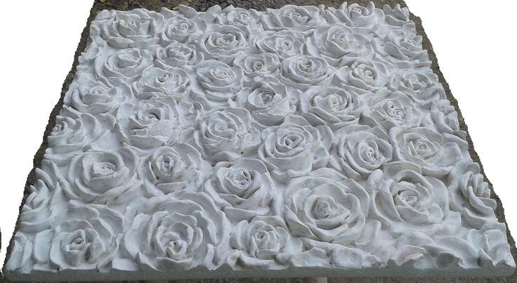 3D панель Розы из гипса, размер 480*500*45мм
