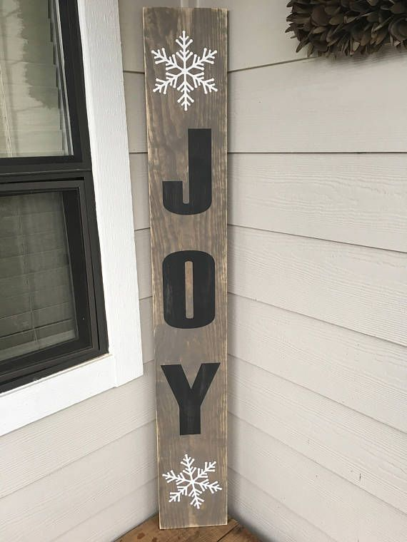 Joy Christmas porch sign with snowflakes  Farmhouse Style
