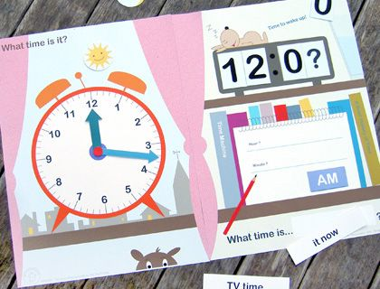 printable clock face folder/game