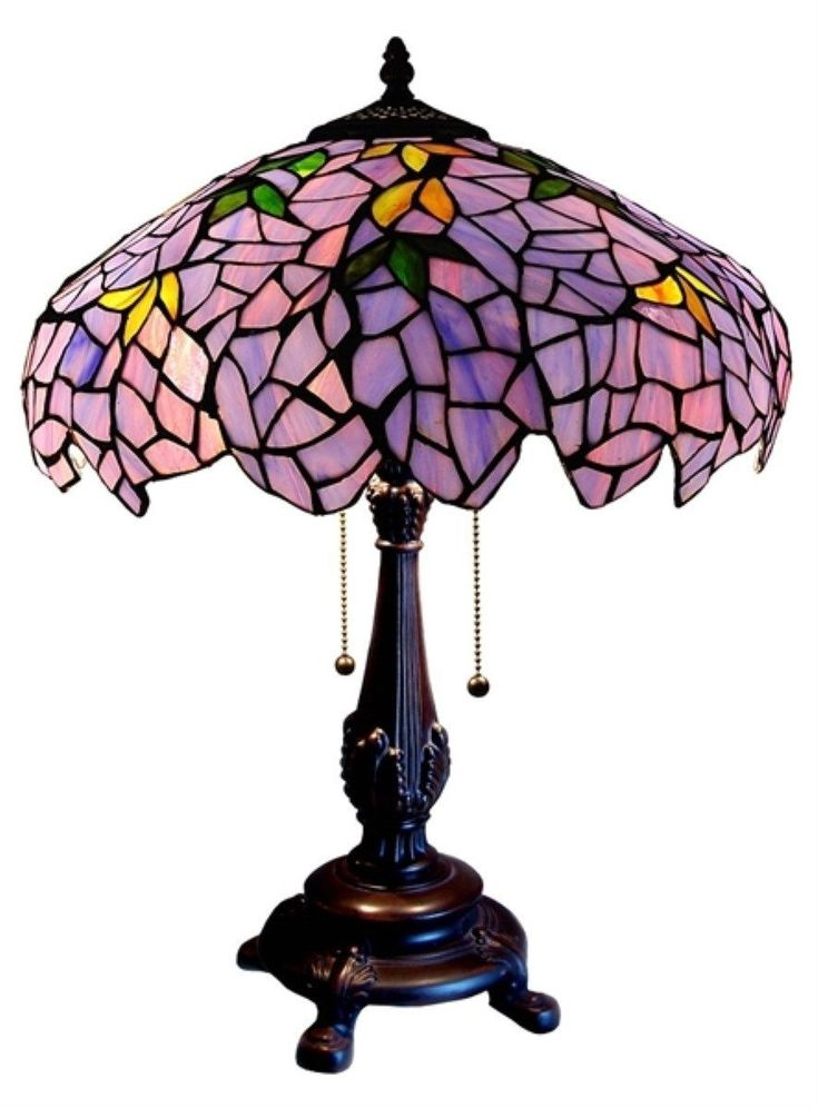 Tiffany Stained Glass Lamp Shades | Tiffany Style Stained Glass Wisteria Table  Lamp 16 Inch Shade