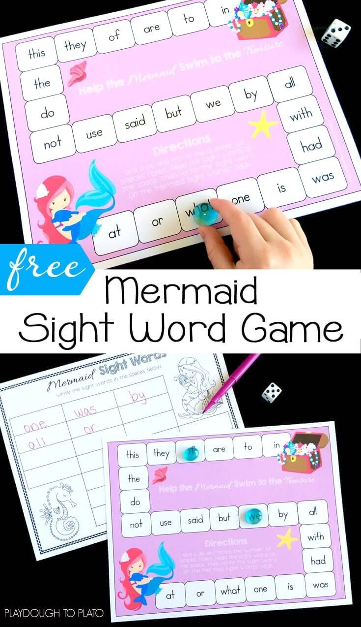 Free Mermaid Sight Word Game! Great literacy center or word work activity for kindergarten or first grade.