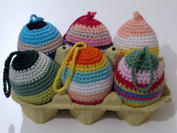 Crochet Easter eggs with cotton yarn. by giovannacargnelli on Etsy, €5.00