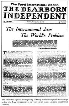 The International Jew - an anti-Semitic publication by Henry Ford that was admired by Hitler