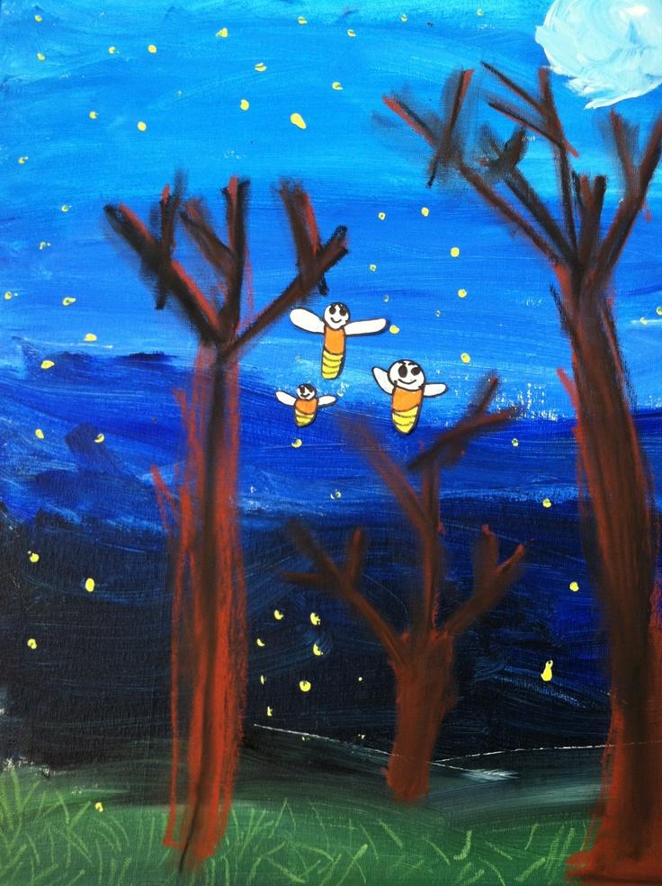 1st Grade Eric Carle Fireflies. Mixed Media.