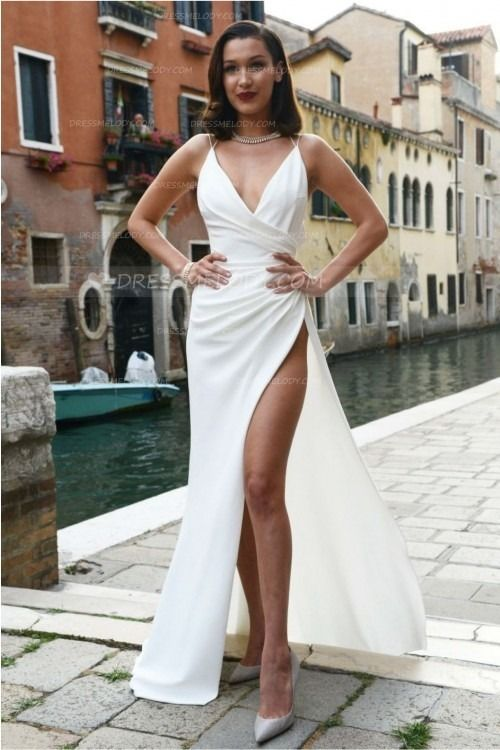 Spaghetti Straps Sleeveless Backless Long Solid Sheath Split Evening Dress #eveningdress #eveningdresses #eveninggown #eveninggowns #promdress #promdr...