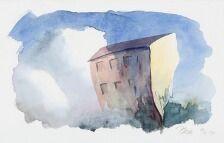 1704/547 - Poul Anker Bech: Komposition. Sign. Bech 12/2 91. Akvarel på papir. Bladstørrelse 25 x 39.