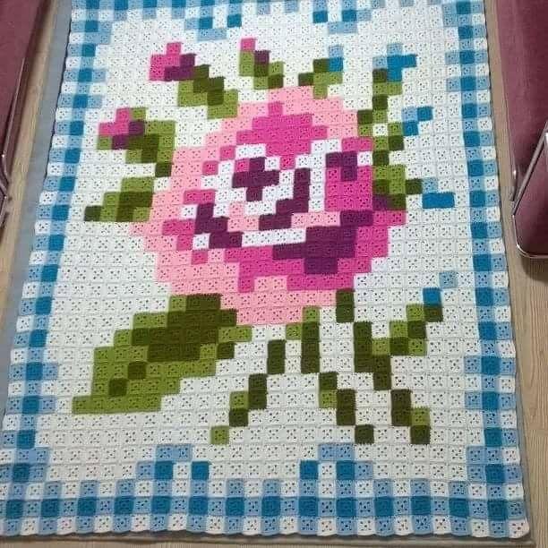 Pixelated rose granny square crochet blanket
