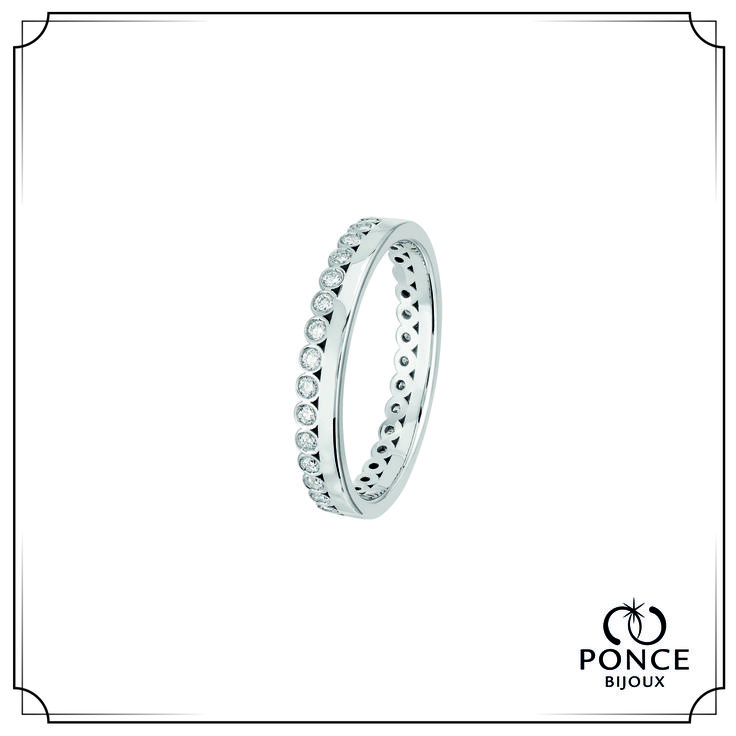 Bijoux Ponce TOGETHER ELDA FOREVER Alliance Diamant, Alliance femme, alliance Platine, Modèle Tour complet, diamants 33 x 0,01 ct H-SI #BijouxPonce #Paris #MadeInFrance #Love #mariage #alliance #platine