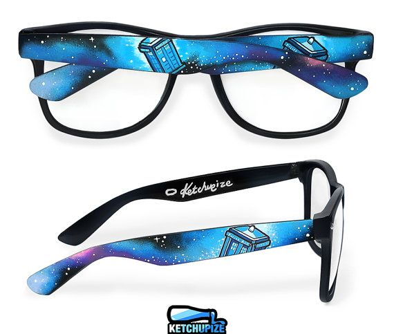 Doctor Who glasses - custom Wayfarer clear lens geeky glasses unique hand painted - Tardis - Space - Galaxy print on Etsy, $52.25