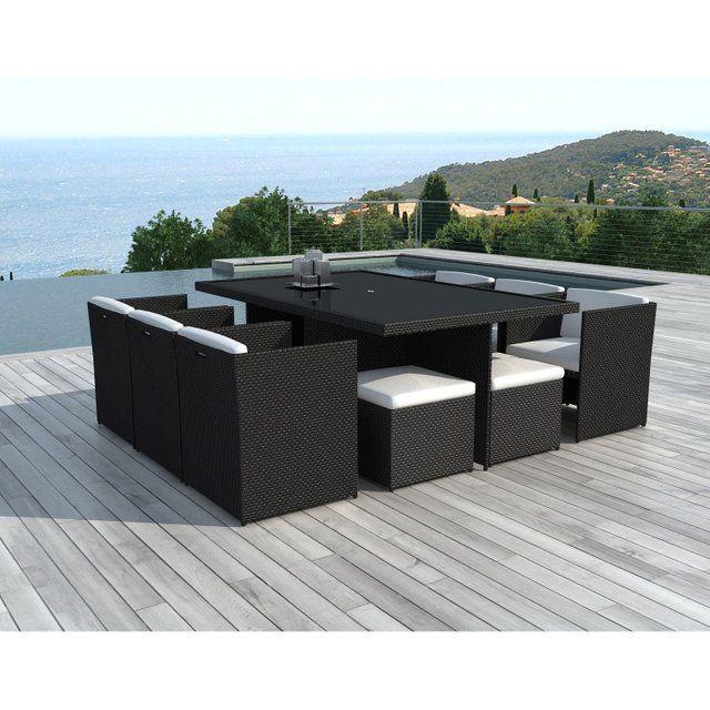Salon De Jardin Sd8230 Black White Resine Tressee Noir 10