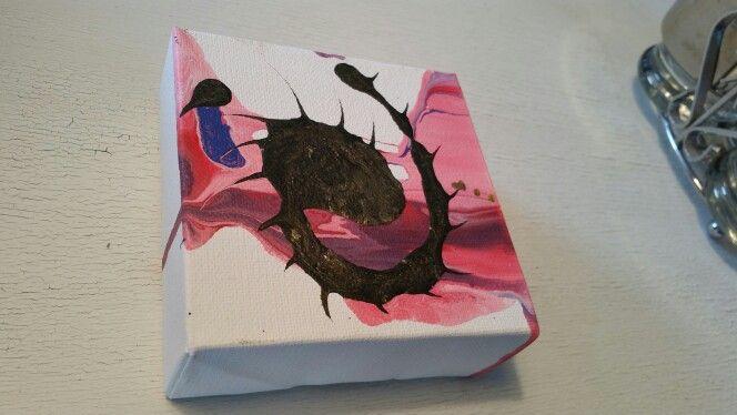 "4"" × 4"" The Traveler's.  Smudge Original artwork, stapeled back canvas, abstract fluidacrylic painting pamelarose@hellokitty.com"