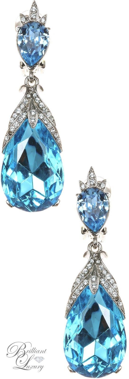 Brilliant Luxury * Oscar de la Renta Bold Teardrop Earrings