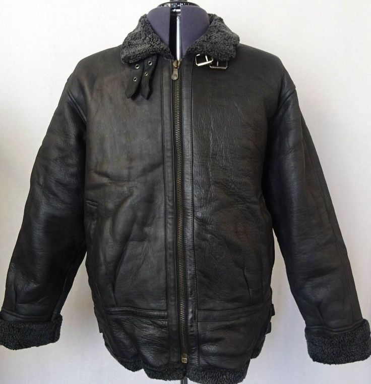 Vintage Sheepskin Black B3 Bomber Jacket Flying Pilot Aviator Coat 46R KB112