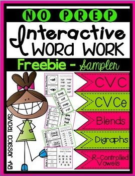 FREEBIE No Prep Word Work - Interactive Notebook -CVC activities -CVCe activities (long vowel / silent e) -Blends -Digraphs -R-Controlled Vowels You can purchase the BUNDLE (200 pages) by clicking below: No Prep BUNDLE Enjoy :) Jessica