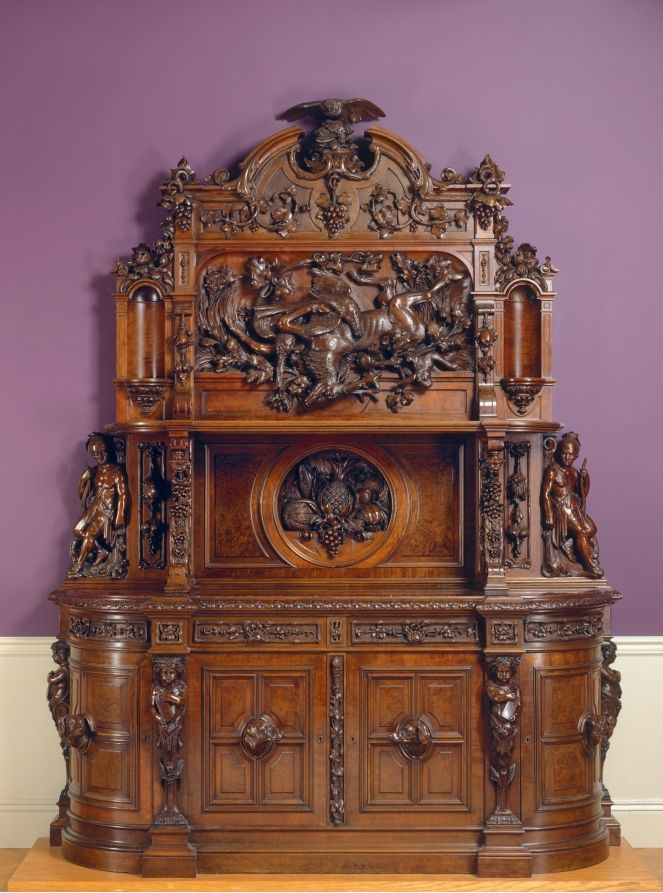c1855 sideboard, Phila, PA, design-attr Joseph Alexis Bailly (American, 1825-1883), wal, 115t,84w, Cleveland MOA.