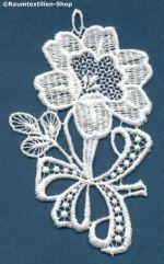 Blume mit Schleife aus echt Plauener Spitze - bei uns im Onlineshop erhältlich.