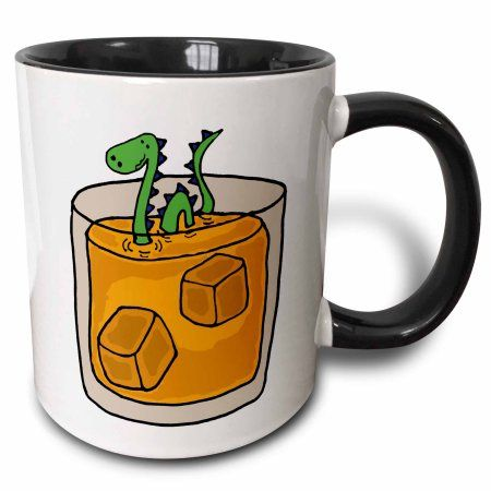 3dRose Funny Loch ness Monster in Scotch Whiskey Glass, Two Tone Black Mug, 11oz