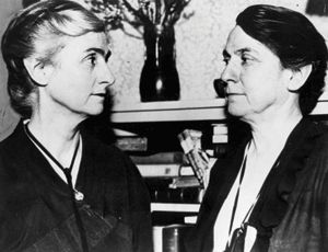 Edith and Grace Abbott, both Delta Gammas (University of Nebraska). Grace was the highest ranking woman in the United States government for over a decade as the head of the United States Children's Bureau from 1921-1934. She was the first woman to be nominated for a Presidential cabinet position—Secretary of Labor. Edith was the first woman to become dean of a graduate school at an American university, the University of Chicago School of Social Service Administration.