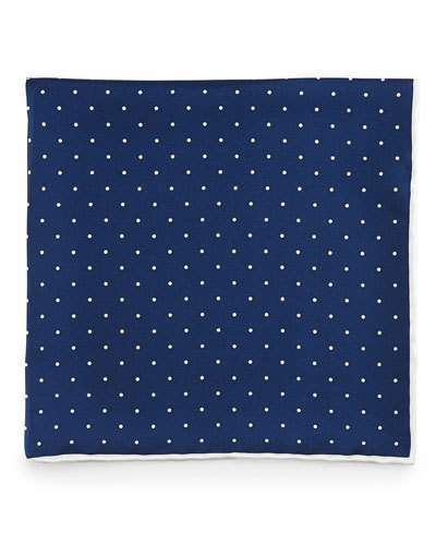 Neiman Marcus Dot-Print Pocket Square, Navy/White
