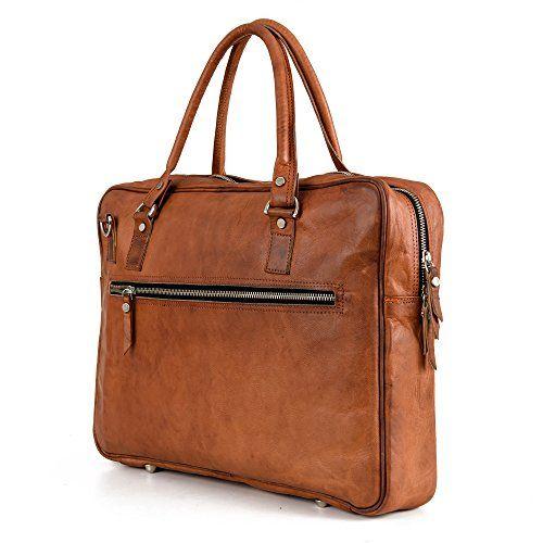 Aktentasche Leder Berliner Bags Madrid Laptoptasche 15 15,6 zoll Businesstasche Umhängetasche Handtasche Vintage Braun Herren Damen Groß XL
