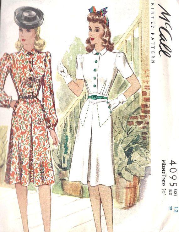 1940s Misses' Dress Vintage Sewing Pattern by MissBettysAttic, $30.00