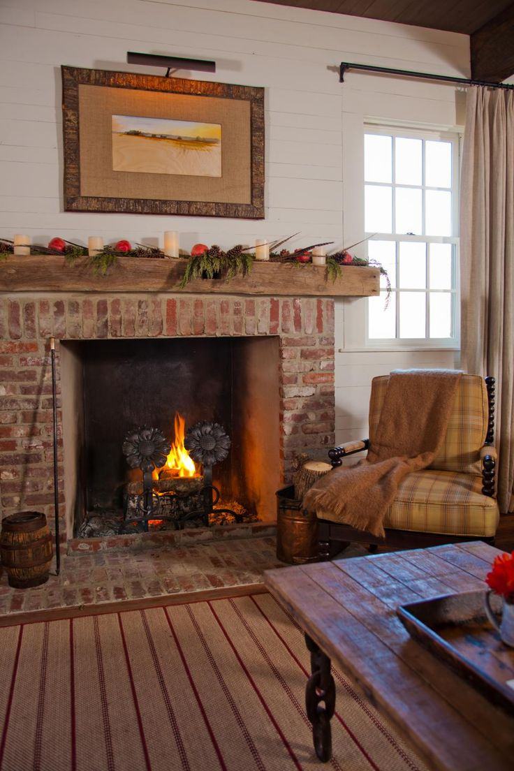 Fireplace. Brick and shiplap Farm house living room