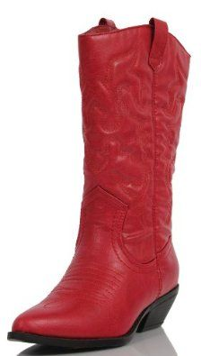 Soda Women Cowgirl Cowboy Western Stitched Boots Pointy Toe Knee High RENO-S Red  Order Now!!!!! #amazon $34.99
