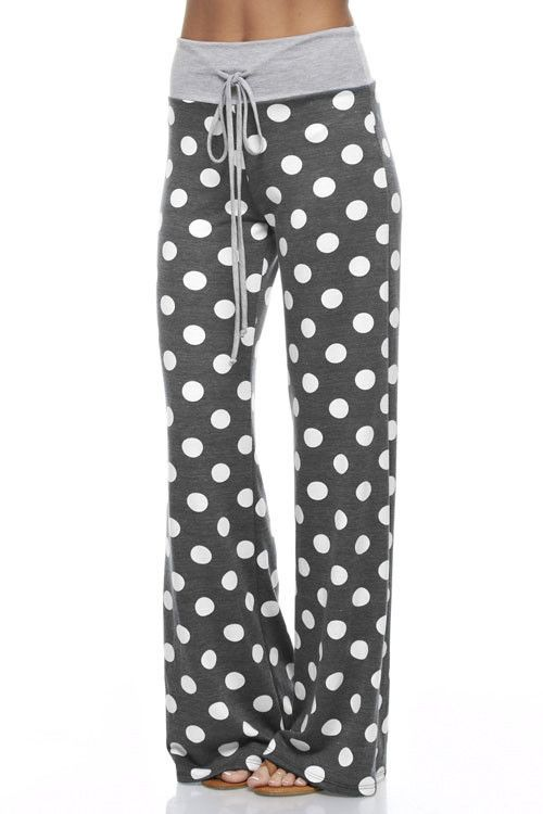 Polka Dot Lounge Pants - Charcoal - Knitted Belle Boutique - 1