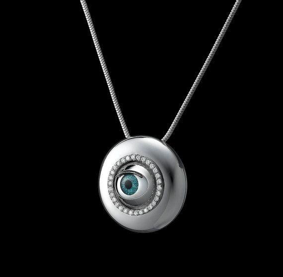 Bleu vert collier, collier de Capsule, mauvais œil choker, collier en cristal…