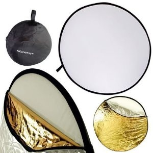 """43"""" (110cm) Collapsible / Portable Photographic Lighting Disc Reflector for Studio or On-Site Use - Translucent, Gold, Silver, White & Black w/ BAG!"""