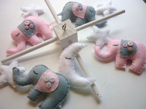 Dreamtime Baby Elephants  Pink and Grey Felt Baby by MaisieMooNZ, $79.00