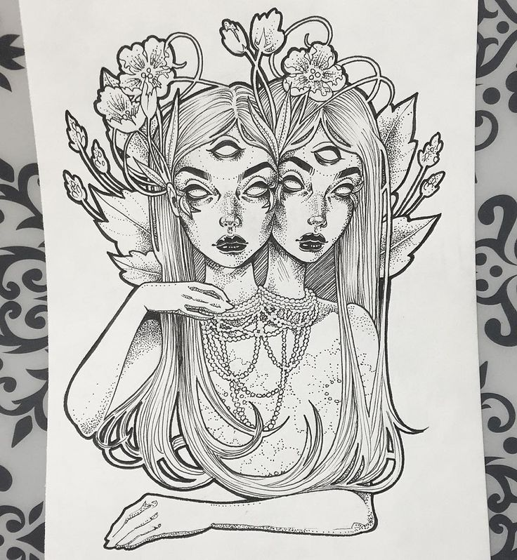"""""""Holy shit guys! I finished the twins!!  Prints coming soon✨ #inktober day 20…"""