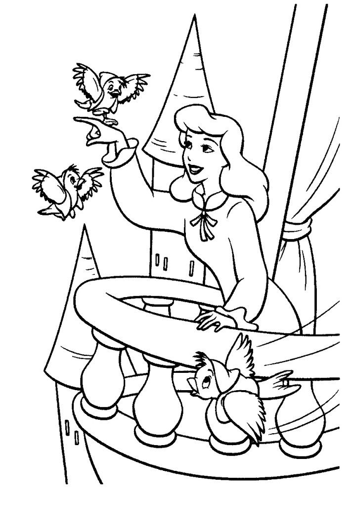Cinderella Birds Coloring Pages Bird Coloring Pages Cinderella Coloring Pages Princess Coloring Pages