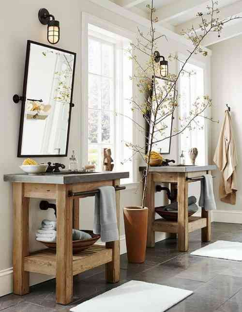 meuble de salle de bains pas cher en bois et pierre