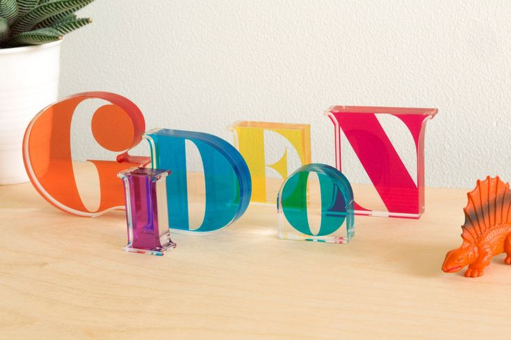 I now take orders for making customised names letters. I will make a customised typographic design and then make each letter as a translucent cast acrylic block.  Move them around to overlap their colours.  It's not glass so much less likely to break.