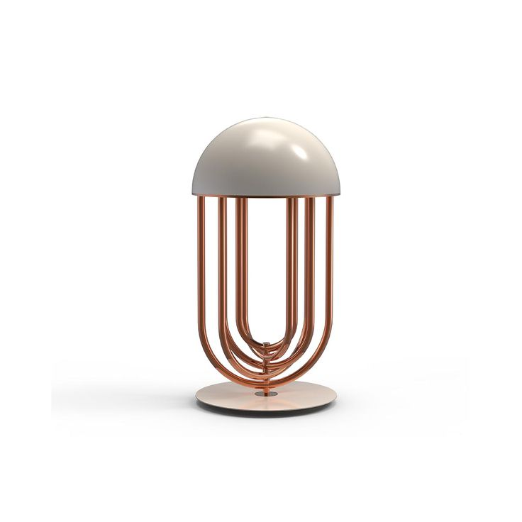 Turner table is simply a head turner. Inspired by Tina Turner's dance moves it has an art deco shape with the possibility of rotating its arcs into the desired position so that you can create your favorite composition whenever you want. The arcs are made in brass with a copper finish and the top cover in aluminum lacquered in cream white.
