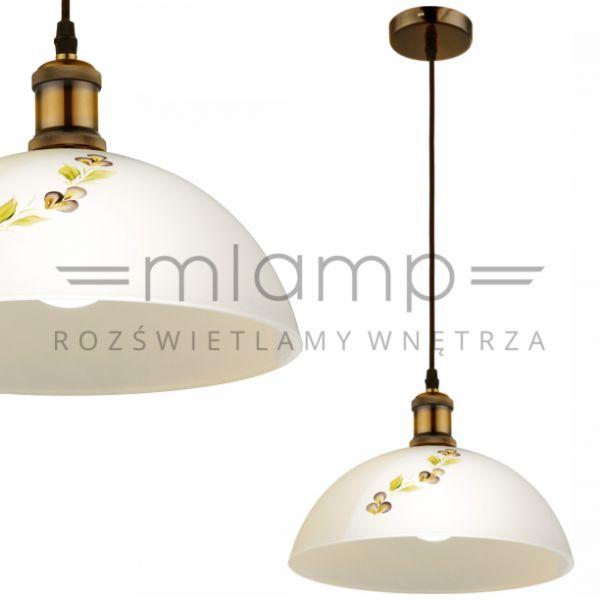 LAMPA wisząca TICCO 15505 Globo szklana OPRAWA zwis nad stół kopuła wzorki biała