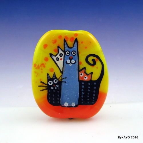 """A CLUSTER OF CATS"" byKAYO a Handmade WHIMSICAL Lampwork Glass Focal Bead SRA #Lampwork"