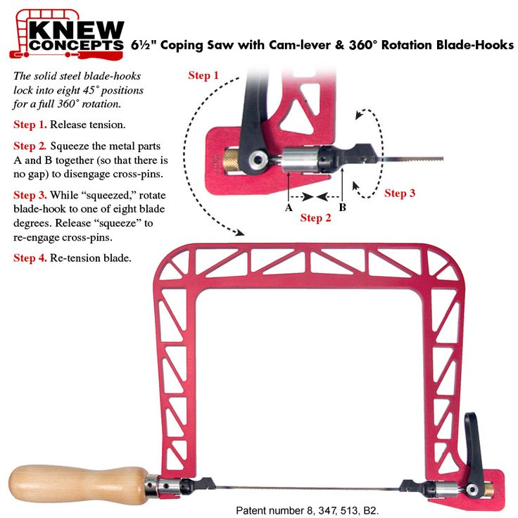 6-1/2 inch Coping Saw. Patent number 8, 347, 513, B2.
