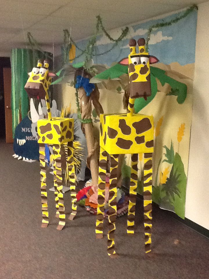 Giraffes Weird Animals VBS hanging from the ceiling, made from boxes